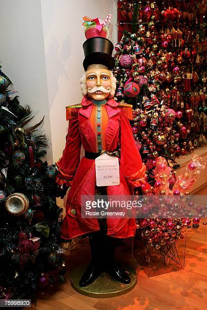 The 'Mr Nutcracker' figure the most expensive christmas piece in the store at 2799 is displayed amongst Christmas themed merchandise at Harrods in...