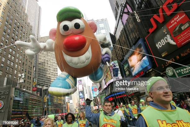 The Mr. Potato balloon floats during the 81st annual Macy's Thanksgiving Day Parade at Times Square on November 22, 2007 in New York City.
