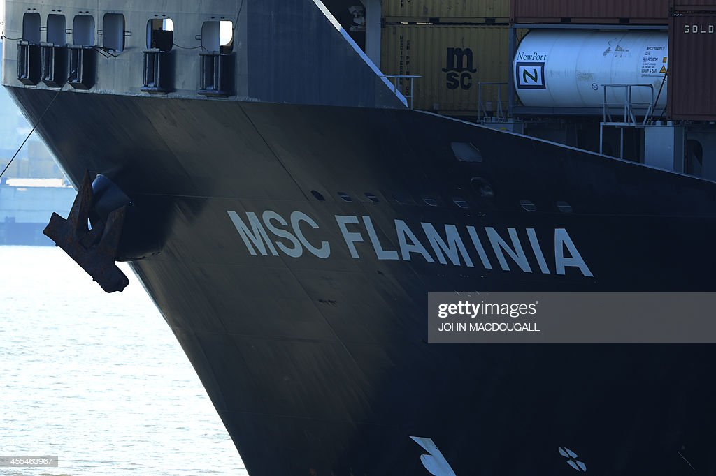 The Msc Flaminia Enters The Jade Weser Port Of Wilhelmshaven