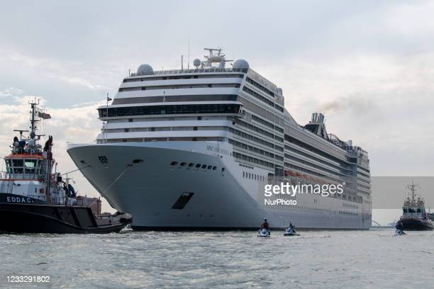 The MSC ship Orchestra passing on the Giudecca canal in Venice, in Venice, Italy, on June 5, 2021. Locals demonstrated today against the passsage of...