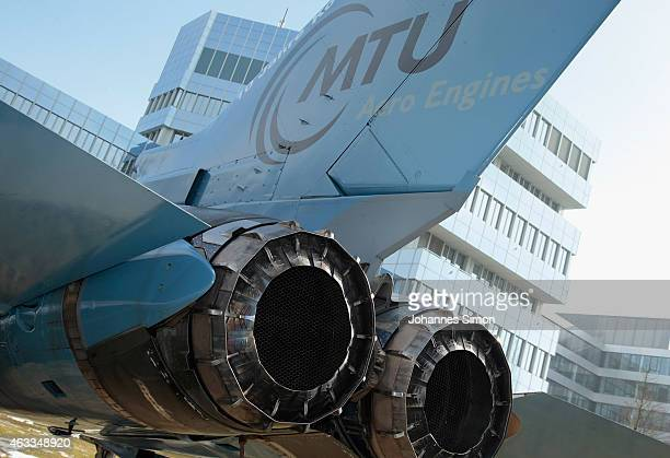 The MTU logo is seen on the tail of a Bundeswehr military aircraft during a visit of Bavarian Governor Horst Seehofer and Bundestag fraction leader...