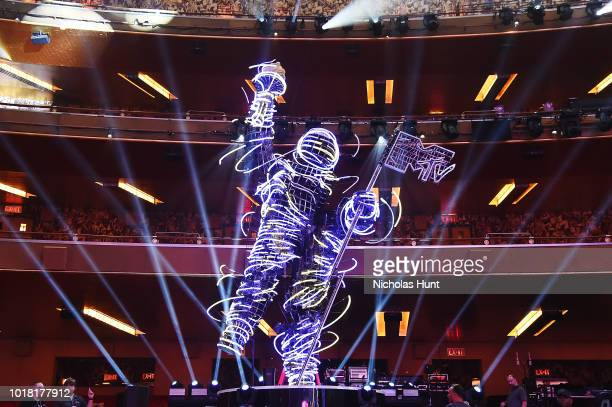The MTV Moon Person Satue inside Radio City Music Hall for 2018 MTV Video Music Awards Press Junket on August 17 2018 in New York City