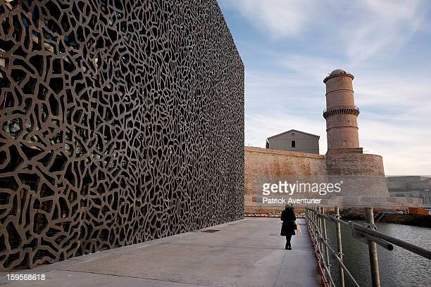 The MuCEM,the Museum of European and Mediterranean Civilisation design by architects Rudy Ricciotti and Roland Carta, on January 13, 2013 in...