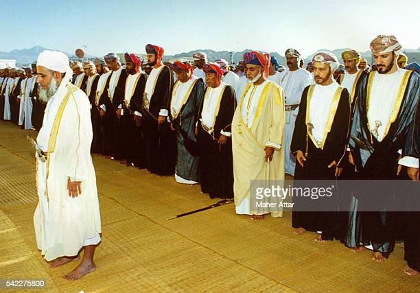 The mufti Sheik Ahmed Ben Hamad Al Khalili praying with the royal family at Aid El Kebir