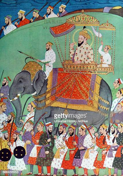 The mughal emperor Babu visits his soldiers while mounted on an elephant. 17th century. Babur was a conqueror from Central Asia who, succeeded in...