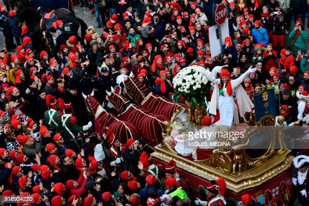 The Mugnaia of the carnival parades on a float during the traditional Oranges battle of Ivrea Carnival near Turin on February 11 2018 Established in...