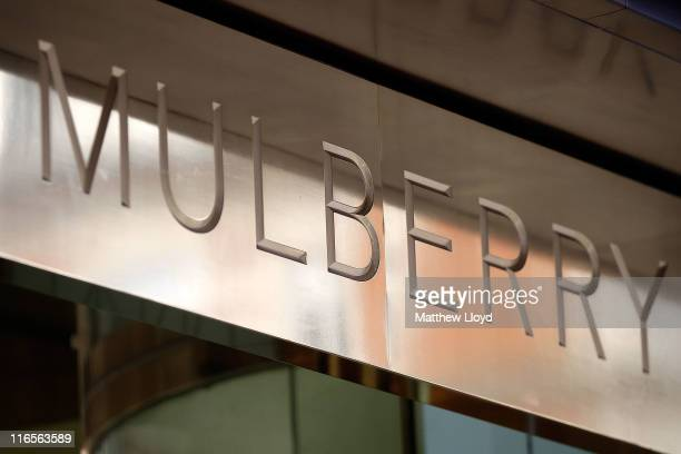 The Mulberry designer logo on a sign above the entrance to heir flagship retail store on New Bond Street on June 16, 2011 in London, England. The...