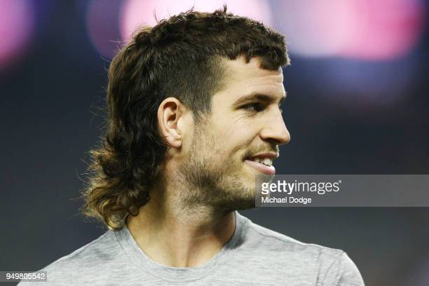 The mullet hairstyle of Ben Stratton of the Hawks is seen during the round five AFL match between the North Melbourne Kangaroos and the Hawthorn...
