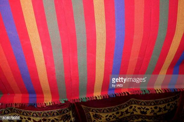 The multi-colored Bedouin tent in the Negev desert