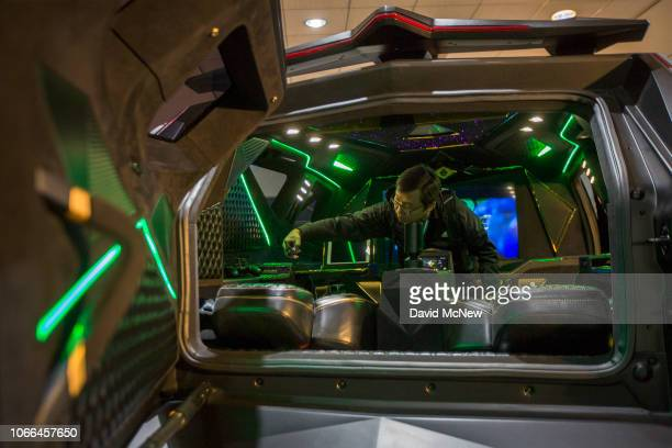 The multimillion dollar Karlmann King, a luxury SUV built around a Ford F550 motor and chassis, is shown at the auto trade show, AutoMobility LA, at...