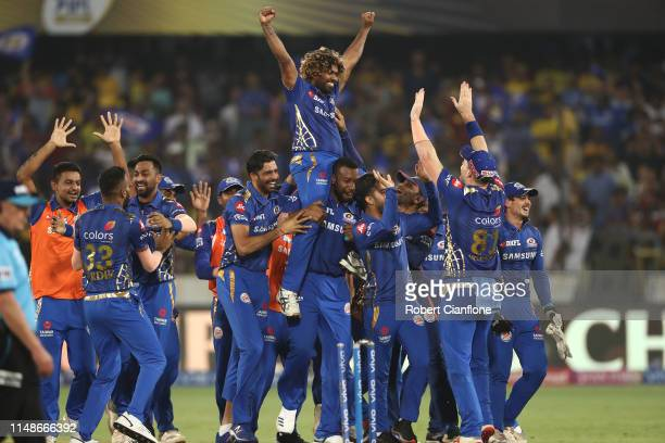 The Mumbai Indians celebrate after they defeated the Chennai Super Kings during the Indian Premier League Final match between the the Mumbai Indians...