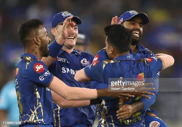 The Mumbai Indians celebrate the wicket of MS Dhoni of the Chennai Super Kings during the Indian Premier League Final match between the the Mumbai...