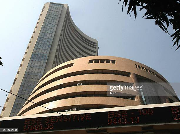 The Mumbai Stock Exchange is pictured as Indian share prices tumbled for the seventh straight day of trading hit by concerns of a global slowdown in...