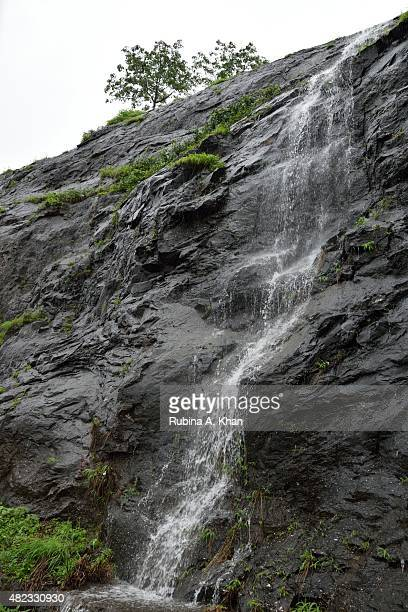 The MumbaiPune Expressway makes for a picturesque drive replete with lush greens and waterfalls in the monsoon season on July 21 2015 in Pune India