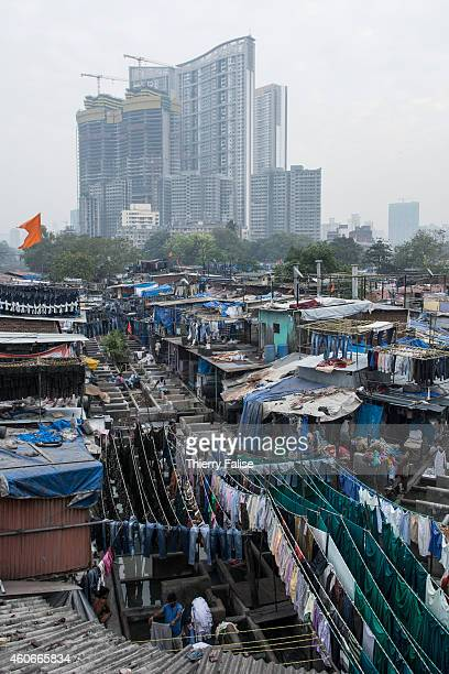 The Mumbai's Dhobi Ghat is a large open air laundromat where workers wash clothes from hotels hospitals and factories