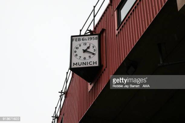 The Munich memorial clock is seen outside Old Trafford home stadium of Manchester United prior to the Premier League match between Manchester United...