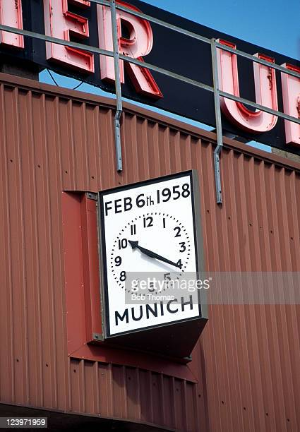 The Munich memorial clock outside Old Trafford football ground in Manchester circa August 1998 The clock is in memory of the 1958 Munich air crash...