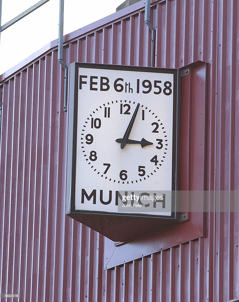 The Munich Memorial clock shows 3.03 - the time of the air crash on 6 February 1958.