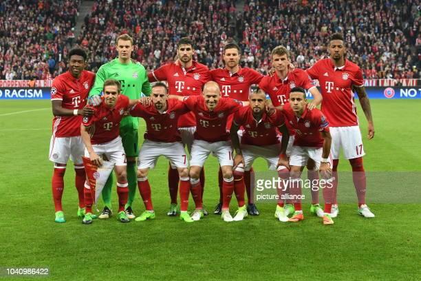 David Alaba Manuel Neuer Javi Martinez Xabi Alonso Thomas Mueller Jerome Boateng bottom LR Philipp Lahm Franck Ribery Arjen Robben Arturo Vidal und...