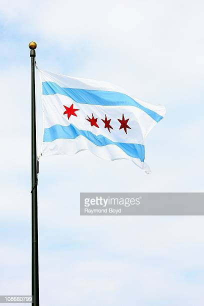 The Municipal Flag of Chicago at Navy Pier in Chicago Illinois on SEPT 06 2009