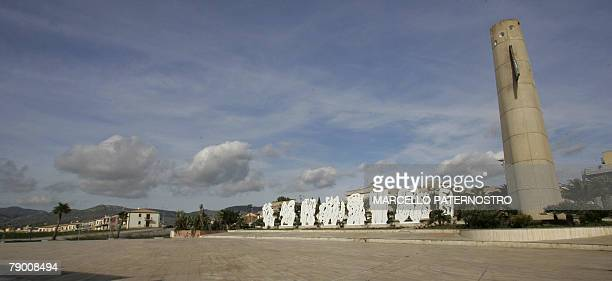 The municipal square of Gibellina with The tower by Italian Alessandro Mendini and the city of tebe by italian architect Pietro Consagra is pictured...