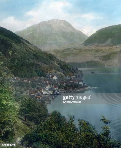 The municipality of Gersau at the canton Schwyz Switzerland ca 1910s