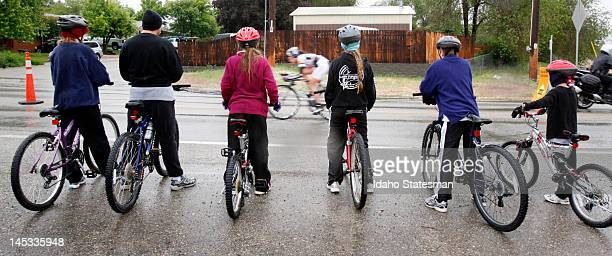 The Munzer family rode their own bikes to watch the second stage of the Exergy Tour a 104mile time trial in Kuna Idaho on Saturday May 26 2012