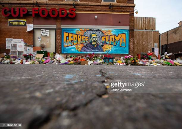 The mural and makeshift memorial outside Cup Foods where George Floyd was murdered by a Minneapolis police officer on Sunday May 31 2020 in...