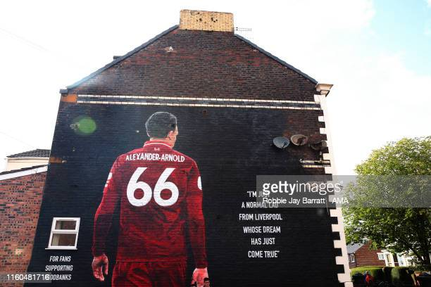 The mural art work on a house in Sybil Road, Anfield, Liverpool, celebrating local player Trent Alexander-Arnold prior to the Premier League match...