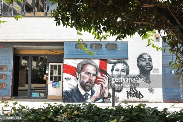 The mural of England football manager Gareth Southgate and players Harry Kane and Raheem Sterling, with the words 'You Did Us Proud', is seen on a...