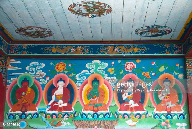 the mural of five buddhas inside the phodong monastery, north sikkim, india. - biblical event stock pictures, royalty-free photos & images