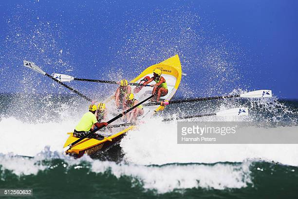 The Murawai crew competes in the Piha Big Wave Classic at Piha Beach on February 27 2016 in Auckland New Zealand