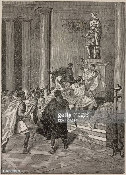The murder of Julius Caesar engraving from Le passeggiate al Pincio by Emma Perodi published by Paravia Italy