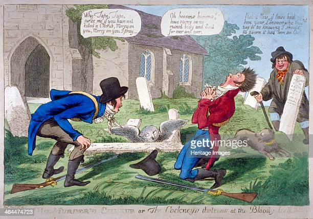 'The murder'd cherub or the cockney's distress at the bloodydeed' 1804 Two men who have been shooting look in horror at a dead owl believing it to be...