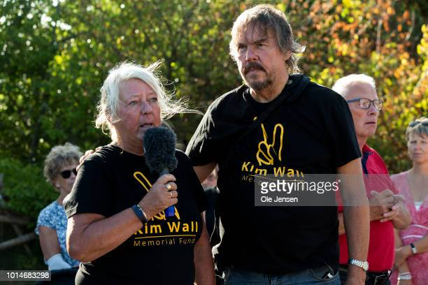 The murdered Kim Walls mother Ingrid Wall and supported by her father Joachim Wall speaks to the some 600 people who participate in the memorial...