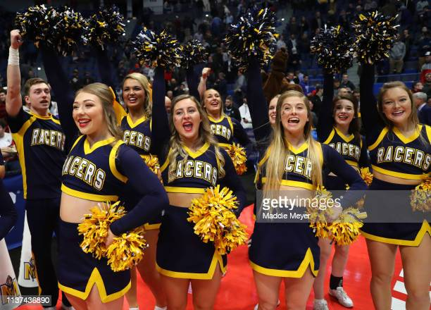 The Murray State Racers cheer squad celebrates their team's win after the first round game of the 2019 NCAA Men's Basketball Tournament between the...