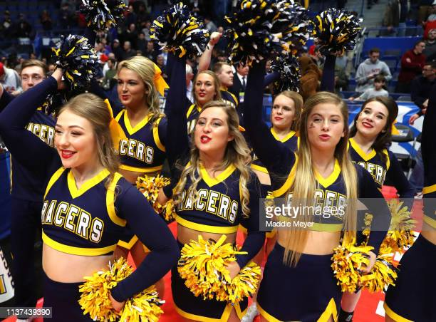 The Murray State Racers cheer squad celebrates their team's win over the Marquette Golden Eagles in the first round game of the 2019 NCAA Men's...