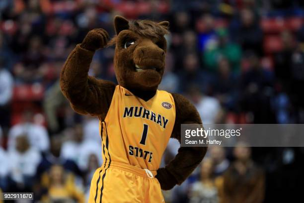 The Murray State Racers mascot performs on the court in the first half against the West Virginia Mountaineers during the first round of the 2018 NCAA...
