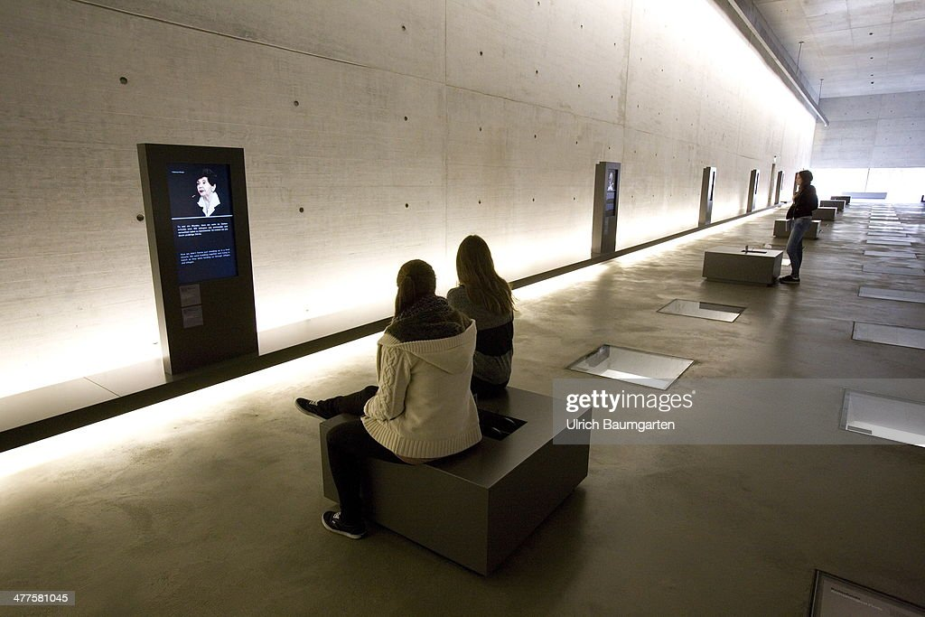 The Museum in the Memorial Concentration Camp Bergen-Belsen and young visitors, on March 05, 2014 in Bergen-Belsen, Germany.