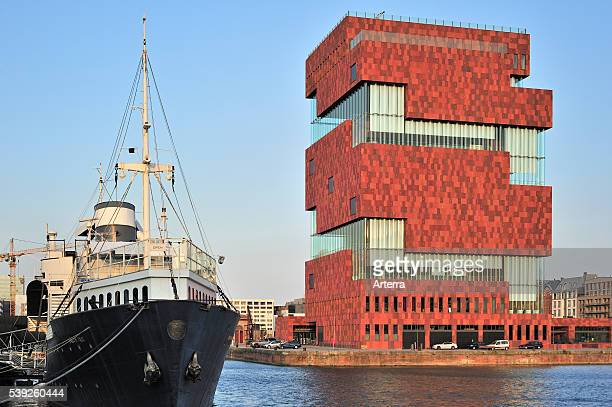 The museum MAS / Museum aan de Stroom in the port of Antwerp Belgium