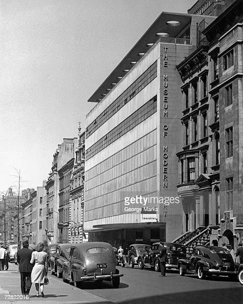 1950s: The Museum of Modern Art, New York City. International Style building designed by Philip L. Goodwin and Edward Durrell Stone opens at 11 West...