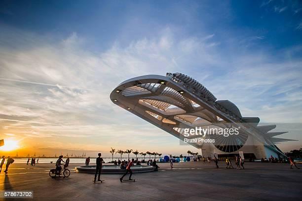 The Museum of Tomorrow a science museum in the city of Rio de Janeiro Brazil designed by Spanish neofuturistic architect Santiago Calatrava and built...