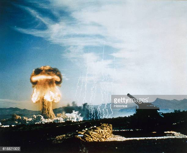 """The mushroom cloud from """"Grable"""", the first nuclear artillery shell, part of Operation UPSHOT-KNOTHOLE. The artillery piece used to fire the nuclear..."""