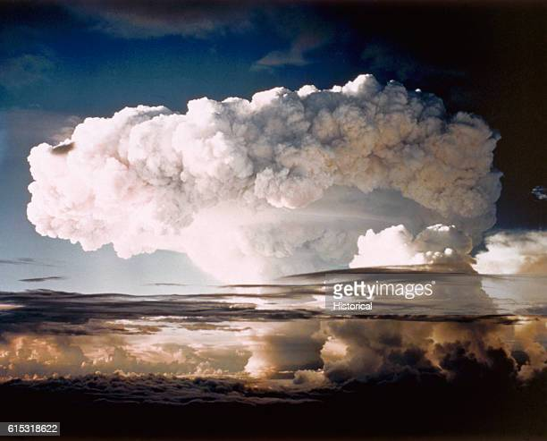 The mushroom cloud from Ivy Mike, one of the largest nuclear blasts ever, during Operation IVY. The blast completely destroyed Elugelab Island.