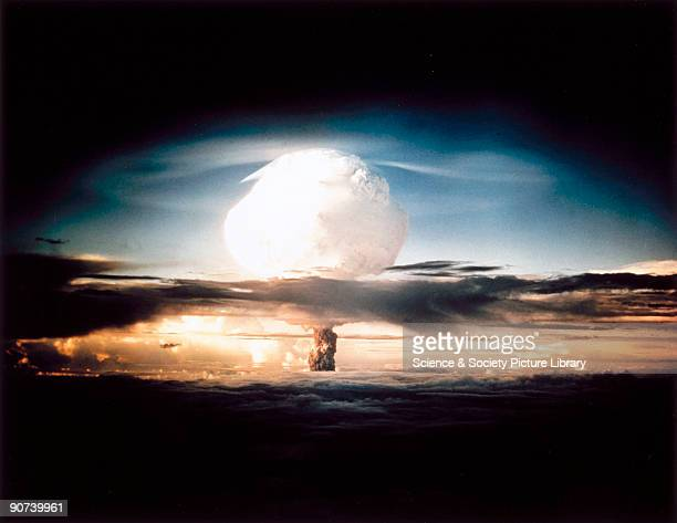 The mushroom cloud produced by the first explosion by the Americans of a hydrogen bomb at Eniwetok Atoll in the South Pacific Known as Operation Ivy...
