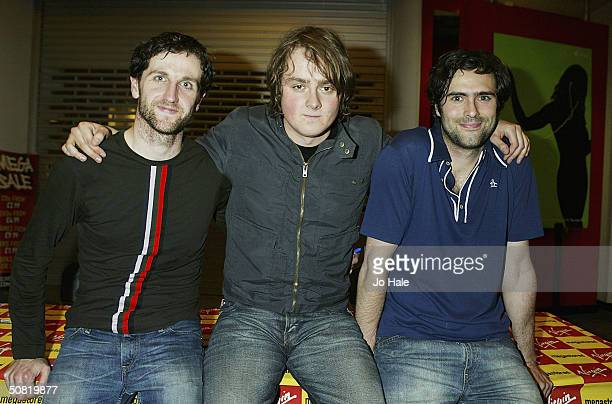 The music band Keane pose at an instore gig on May 9 2004 at Virgin Megastore in London