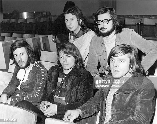 The music band Nomadi at the Sanremo Italian Song Music Festival in 1971 From the centre on top Umberto Maggi Augusto Daolio low from left Franco...