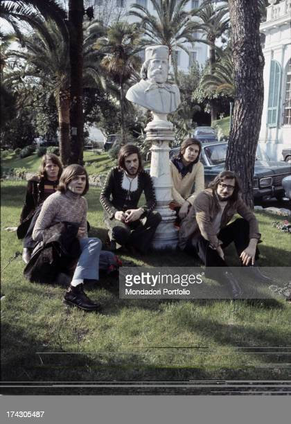 The music band Nomadi seated under the bust of Giuseppe Garibaldi on the occasion of their participation in the 21st edition of the Sanremo Italian...