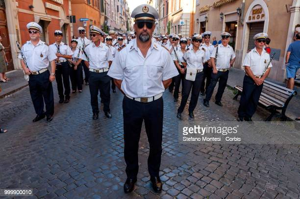 The music band of the municipal police during the solemn Celebration and processions in honor of Madonna del Carmine in the Rione Borgo at Via della...
