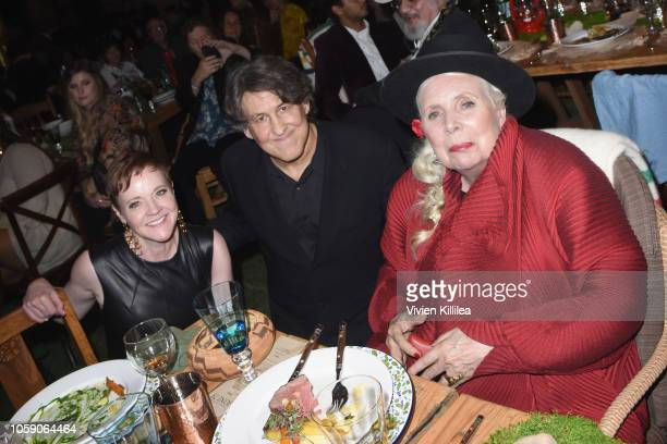 The Music Center President and CEO Rachel S Moore Cameron Crowe and Joni Mitchell attend Joni 75 A Birthday Celebration Live At The Dorothy Chandler...